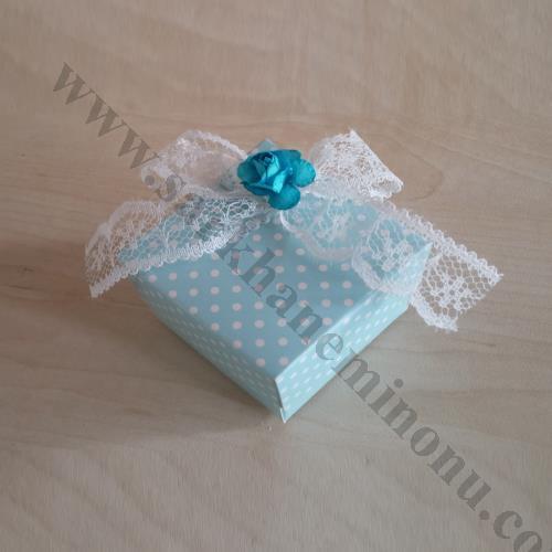 Mavi Puantiyeli Karton Kutu Bebek Şekeri
