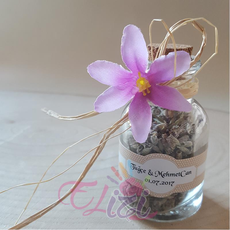 Lavantalı Çiçekli Cam Şişe Nikah Şekeri