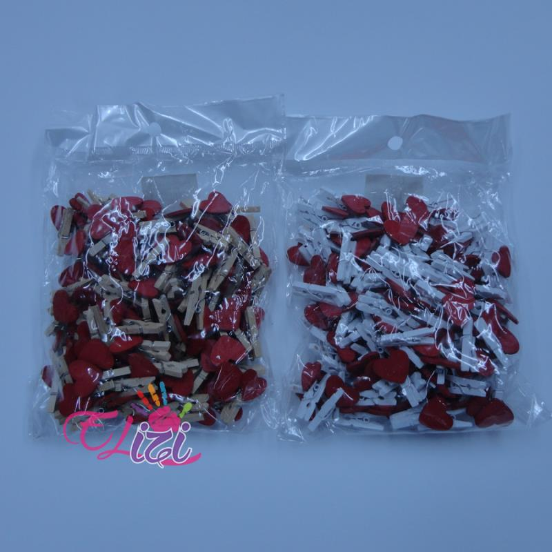 Ahşap Mandal Beyaza Kırmızı Kalpli 2,5 cm 100