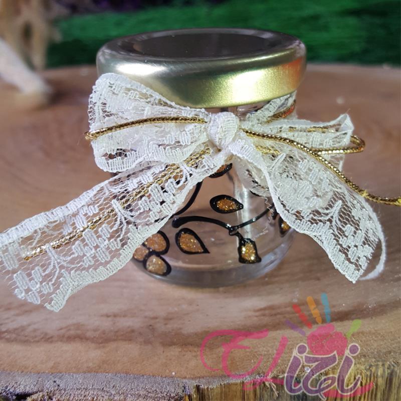 Altın Sarısı ve Siyah Desenli Cam Kavanoz Nişan Düğün Hediyesi