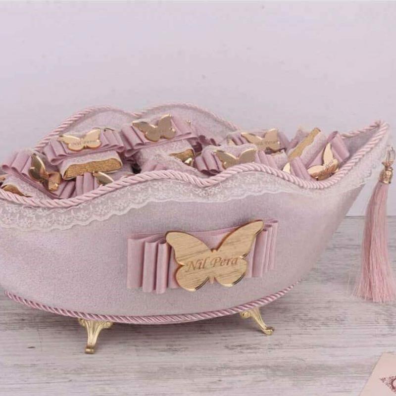 Pleksi İsimli Bebek Çikolatası ve Sepeti Takım Pembe (Elit Çikolata 48 Adet)