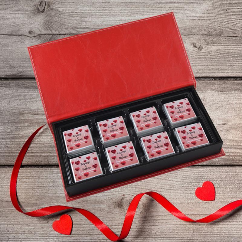 Sevgiliye Özel Ahşap Kutuda Baskılı Çikolata