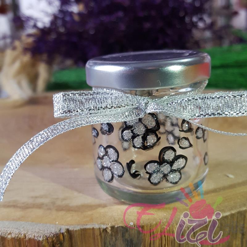 Gümüş Çiçek Desenli Cam Kavanoz Nişan Düğün Hediyesi