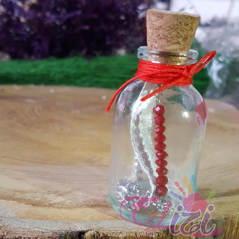 Cam Şişede Kristal Boncuklu Bileklik Kına Gecesi Hediyesi