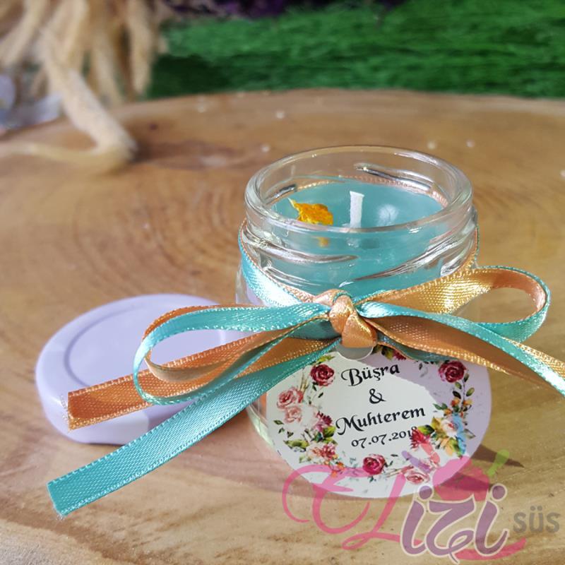 Cam Kavanozda Kokulu 2 Renkli Mum Nişan Düğün Hediyesi