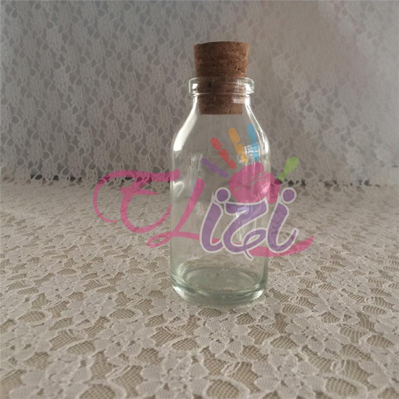 ( 100 cc ) Mantar Kapaklı Cam Şişe Ağzı Geniş (104