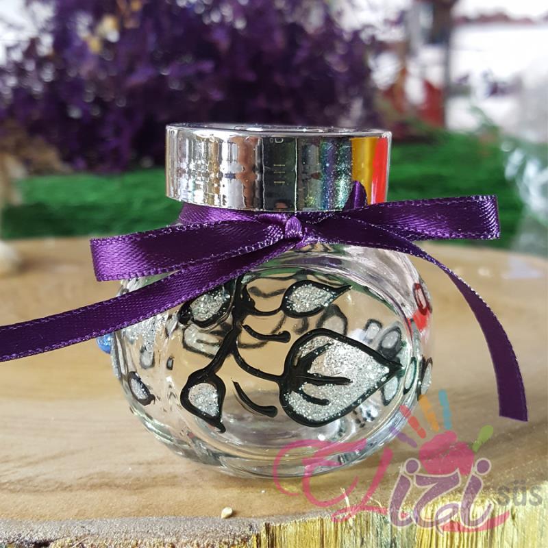 Çiçek Desenli Cam Kavanoz Nişan Düğün Hediyesi