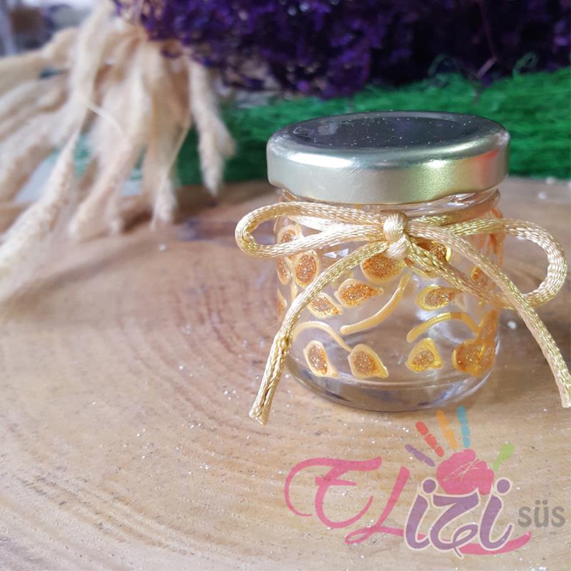 Altın Sarısı Harf Desenli Cam Kavanoz Nişan Düğün Hediyesi