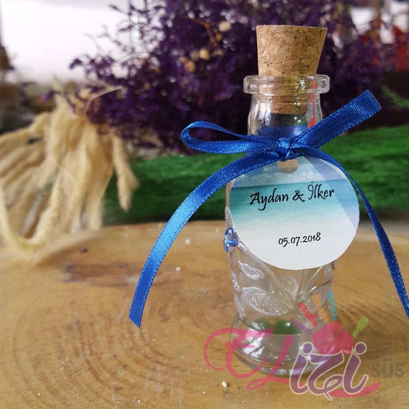 Gümüş Çiçek Desenli ve Boncuklu Cam Şişe Nişan Düğün Hediyesi